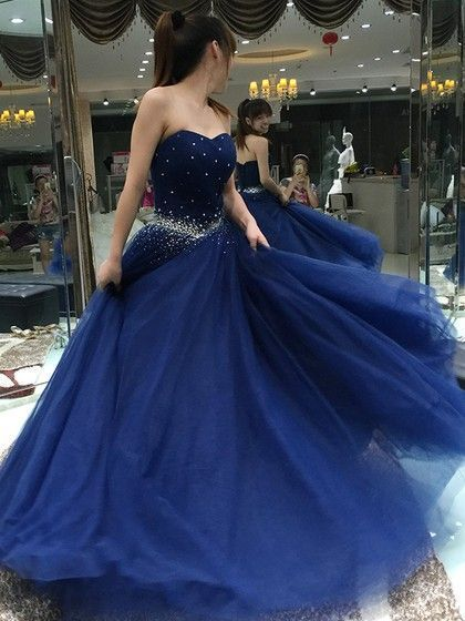 Blue Prom Dress,A-Line Prom Gown,Sweetheart Prom Dress,Beading Prom Gown 9814