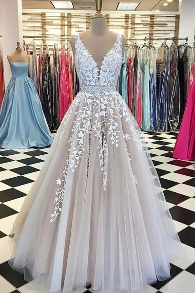 Light Champagne V Neck A Line Long Lace Appliqués Bridal Dress Formal Prom Dress