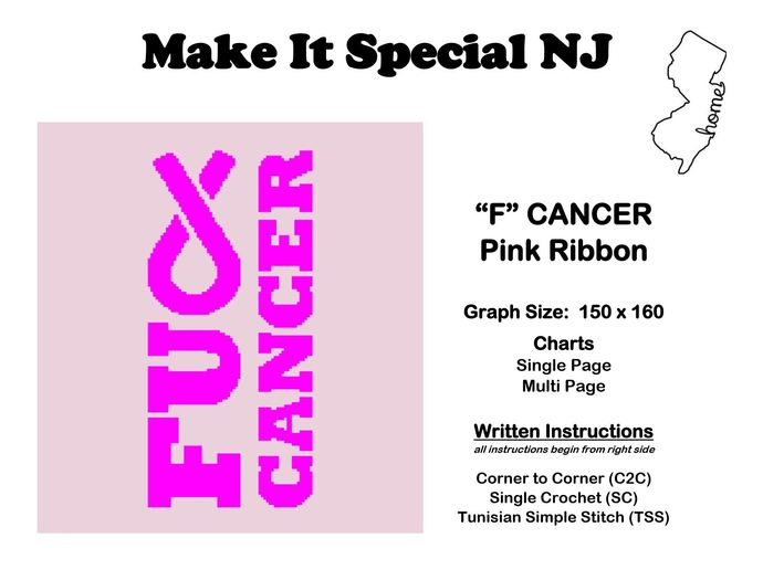 """F"" Cancer - Pink Ribbon - Breast Cancer"