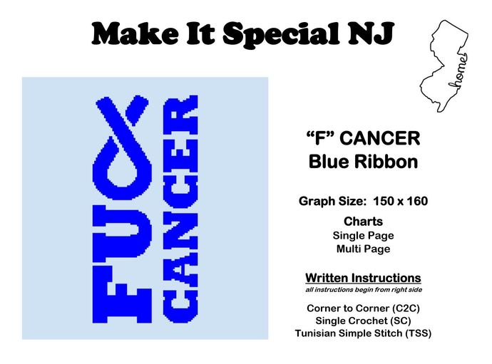 """F"" Cancer - Blue Ribbon - Colon Cancer & Colorectal Cancer"