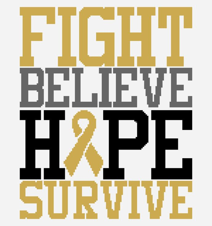 Fight, Believe, Hope, Survive - Gold Ribbon - Childhood Cancer