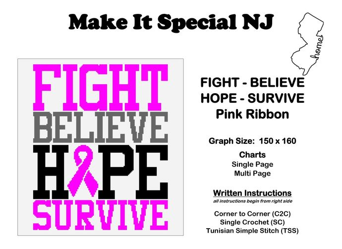 Fight, Believe, Hope, Survive - Pink Ribbon - Breast Cancer