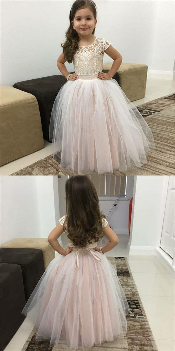 Ball Gown Round Neck Pink Tulle Flower Girl Dresses with Lace&Bow Knot