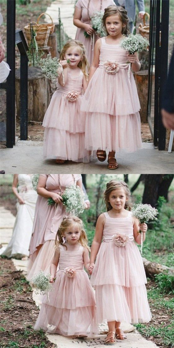 Cute Square Neck Pink Tulle Long Cheap Flower Girl Dresses with Handmade Flower