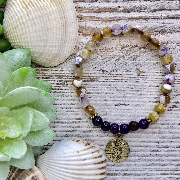 Yellow and purple fire agate beaded bracelet with gold seahorse charm