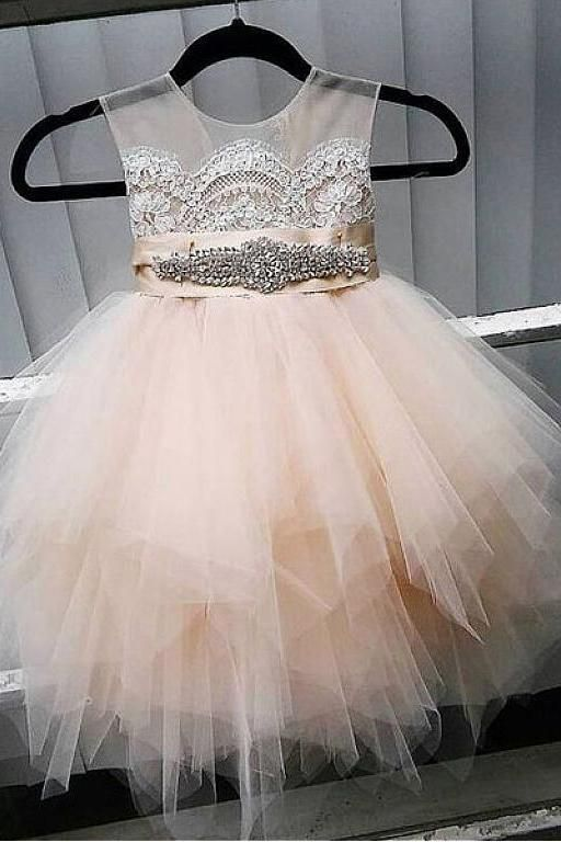Cheap Princess Scoop Tulle Flower Girl Dress with Beading Belt