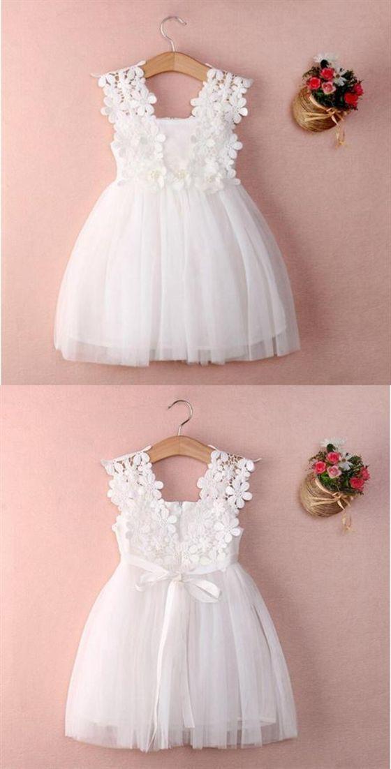White Sleeveless Lace A Line Flower Girl Dresses Short Little Girl Dresses