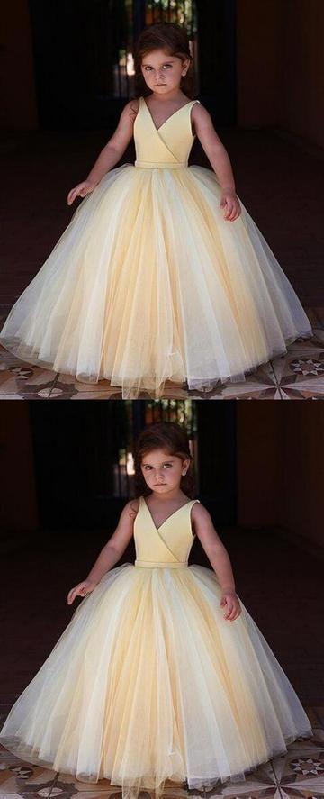 Yellow V Neck Sleeveless Flower Girl Dresses A Line Tulle Little Girl Dresses