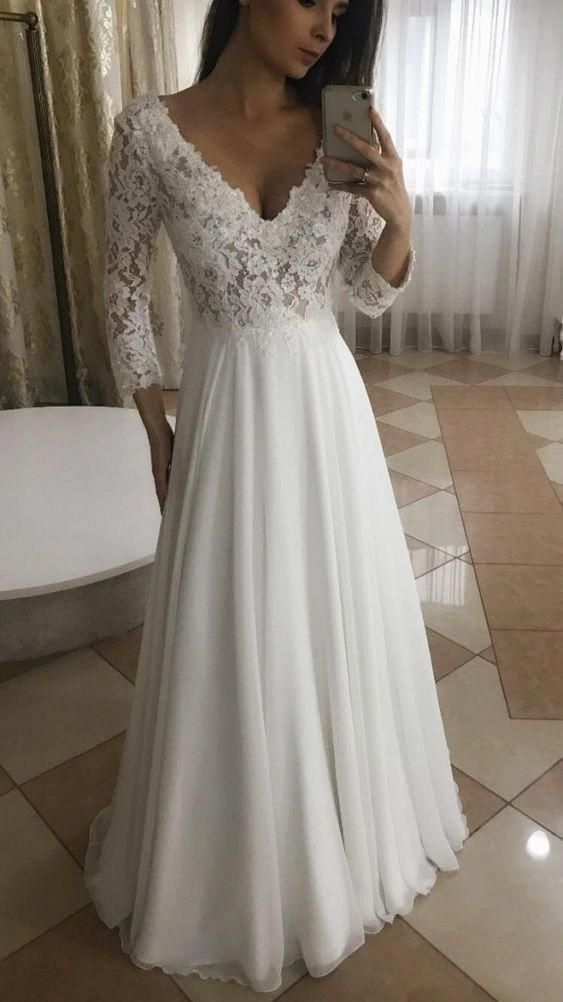 Charming 3/4 Sleeve Ivory Appliques A Line Prom Dress, Formal Evening Party