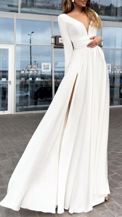 Long Sleeves Chiffon Prom Dress,Elegant Plunge V-neck Prom Dress,prom