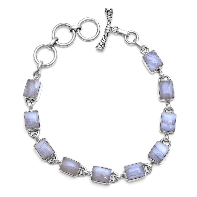 925 Sterling Silver Blue Lace 7.50 Inches Cabochon Bracelet Jewelry