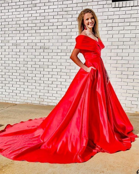 Gorgeous Off the Shoulder Red Long Ball Gown