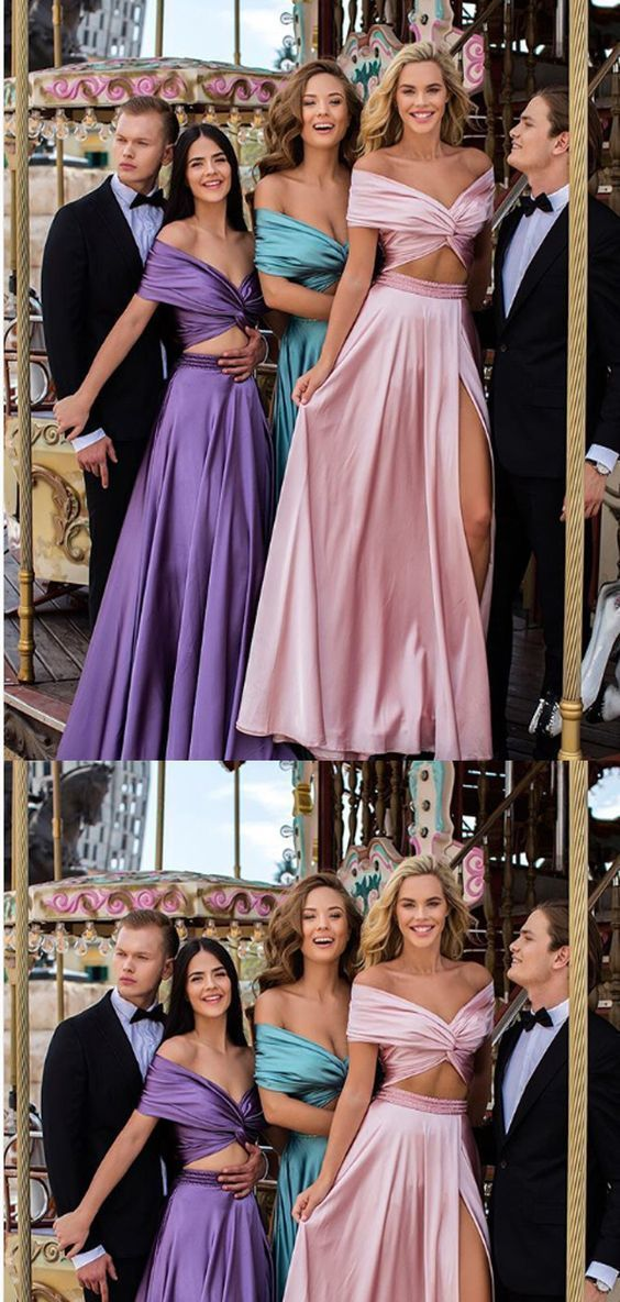 Two Piece Off-the-Shoulder Satin Long Evening Prom Dresses,Cheap Prom Dresses