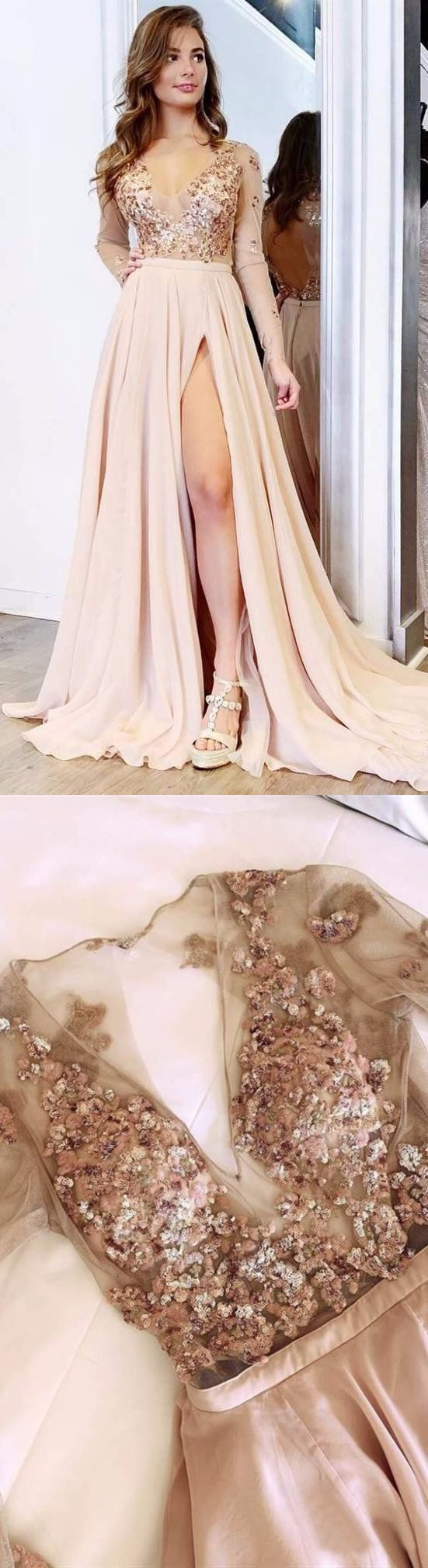 A Line V neck Long Sleeves Light Champagne Prom Dress With Appliques M8191