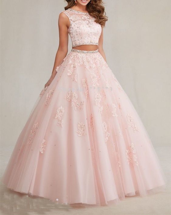 Luxury Pink Beaded A-Line Prom Dresses,Two Pieces Quinceanera Gown,Sleeveless