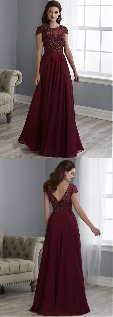 Charming Tulle & Chiffon Bateau Neckline Cap Sleeves A-line Mother Of The Bride