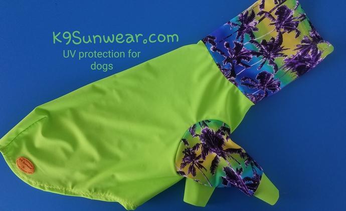 LARGE K9 Sunwear UV protection Hot Tropics and neon
