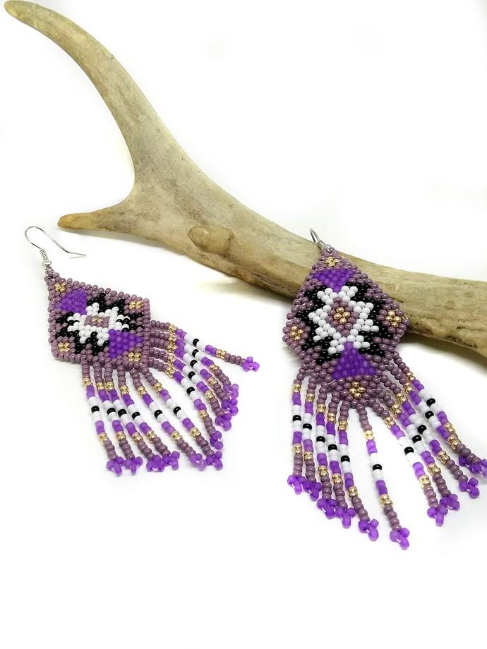 Purple Southwest Fringe Earrings   PRM032219P