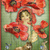 Red Riding Hood and Poppies Digital Collage Greeting Card2244