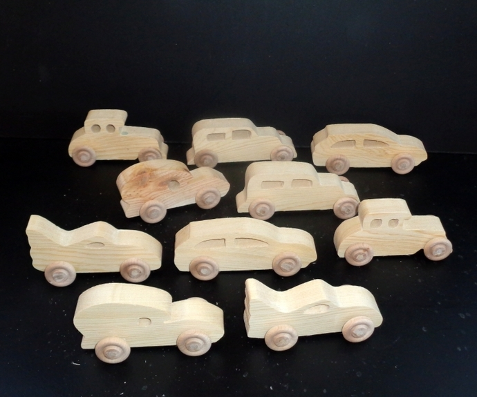 10 Handcrafted Wood Toy Cars  OT-45  unfinished or finished