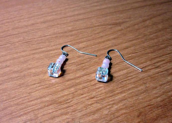 Pink and Clear Glass Bead Dangle Earrings