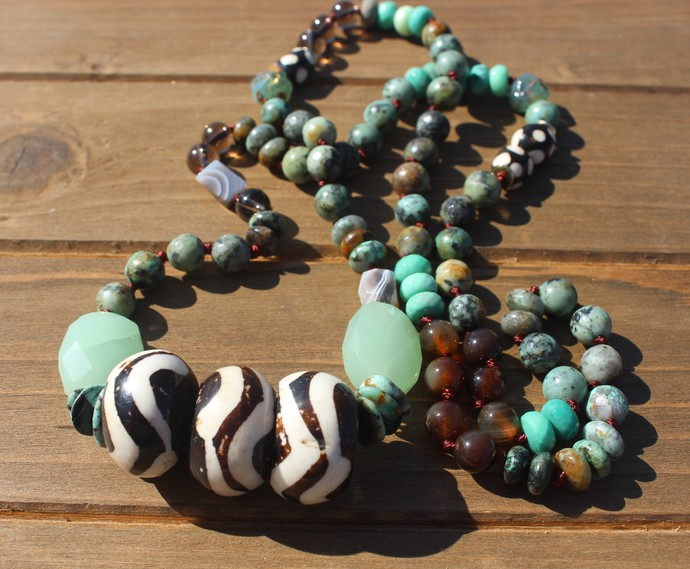Long Beaded necklace Boho Bone for your wild side statement jewelry Turquoise