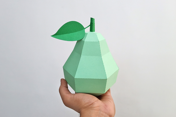 DIY Papercraft Pear,Papercraft fruits,Paper toy,Party decoration,Nursery