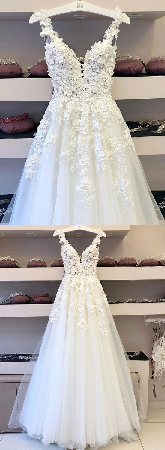 White tulle lace applique long prom dress, formal dress P7602