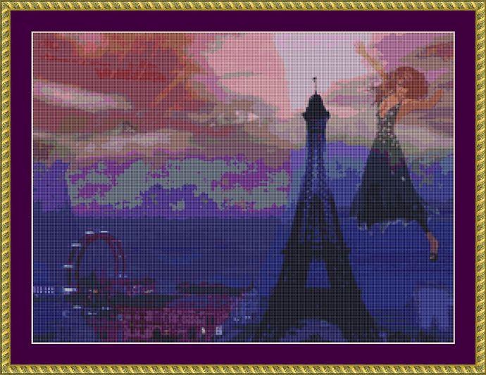 Paris Dreams Cross Stitch Pattern - Instant Digital Downloadable Pattern