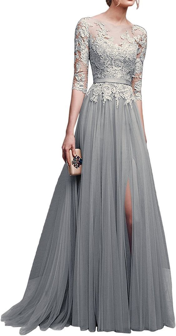 A line grey prom dress with lace appliques P7612