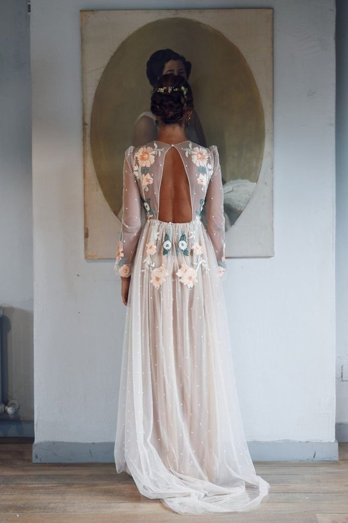Long Sleeve Prom Dresses Embroidery A-line Chic Long Open Back Sparkly Prom