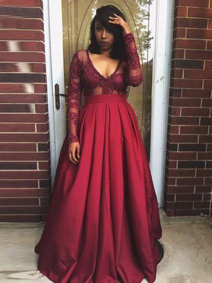 Chic Plus Size Prom Dresses V-neck Satin Burgundy Long Sleeve Prom Dress P7612