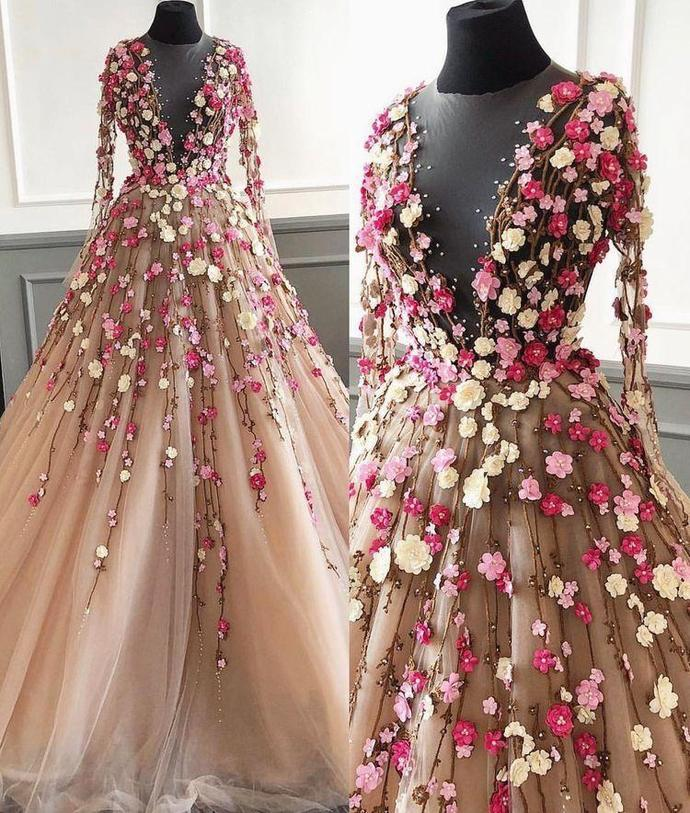 Long Sleeve Prom Dresses A Line Hand-Made Flower Floor-Length Long Beautiful