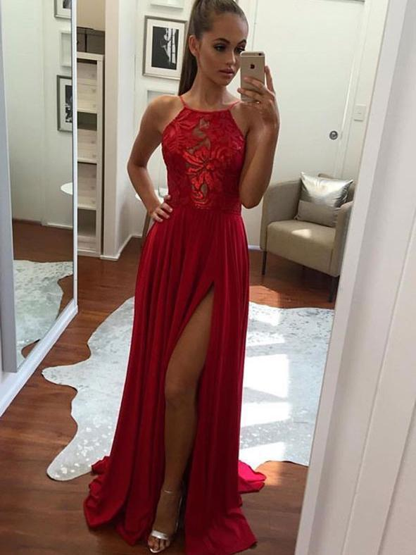Cheap Prom Dresses Halter A-line Short Train Sexy Red Lace Prom Dress/Evening