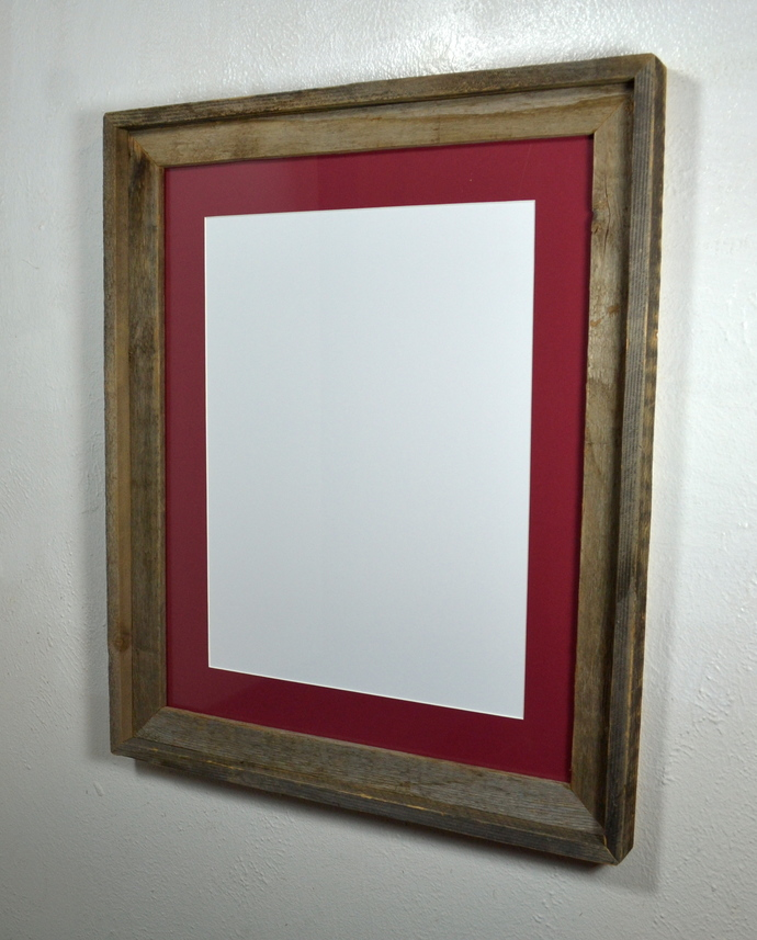 12x16 cabernet red mat in 16x20 recycled wood wall hung poster frame