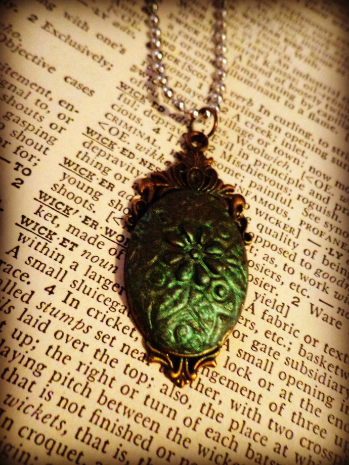 Green Flower Impression Clay Pendant ~ Comes on a ball chain ~ One of a kind