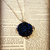 Silver and Navy Blue Rose Cabochon Pendant ~ Comes on a ball chain
