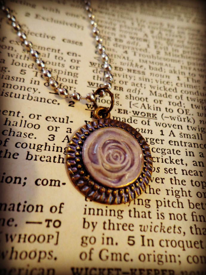 Light Purple Clay Rose Pendant ~ Antique Brass Base ~ Comes on a Ball Chain ~