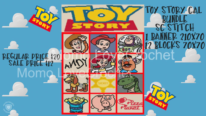 Toy Story SC CAL Bundle! 12 Blocks/1Banner ZIP FILE