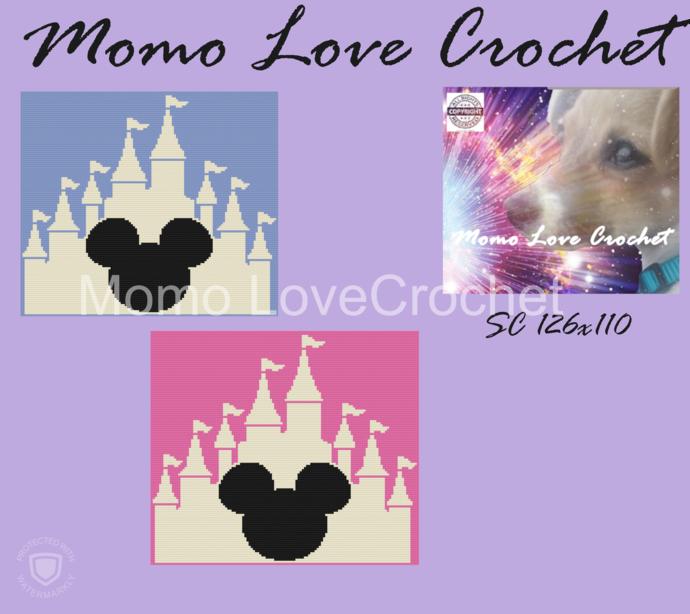 Mickey Castle Baby Blanket SC  110x126