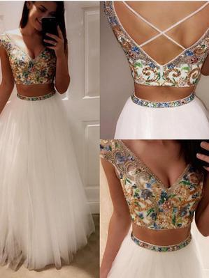 Two Piece Prom Dresses V-neck Floor-length Tulle Sexy Prom Dress/Evening Dress