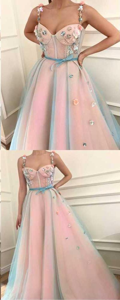 Sparkly Prom Dresses with Straps Hand-Made Flower Pink Prom Dress Fashion