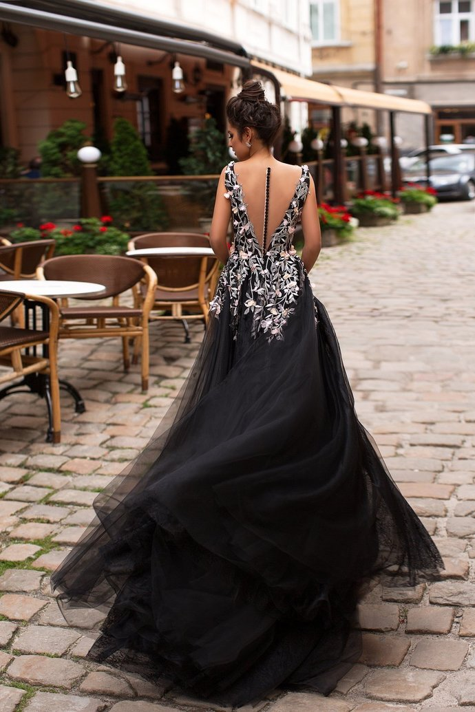 Black Prom Dresses Scoop Aline Sweep Train Long Sheer Lace Prom Dress  P7609
