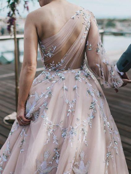 Unique Long Sleeve Prom Dresses One Shoulder A-line Sparkly Prom Dress Long
