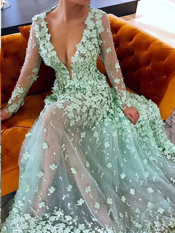 Beautiful Prom Dresses A-line Floral Lace Sage See Through Long Chic Prom Dress