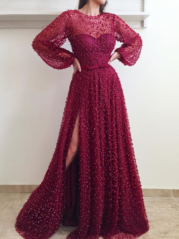 Long Sleeve Prom Dresses A Line Long Burgundy Lace Beading Sparkly Slit Prom Dress P7612