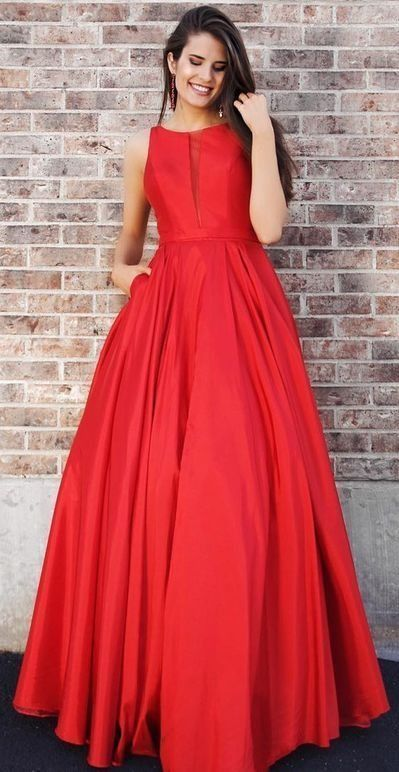 Long Prom Dresses Princess, Red Formal Evening Dress with Pockets
