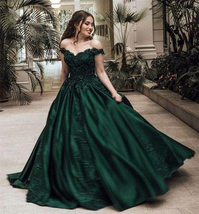 Ball Gown Prom Dresses Off-the-shoulder Appliques Long Chic Dark Green Prom