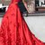 Red Prom Dresses A-line Sweep Train Hand-Made Flower Long Chic Prom Dress Q4264