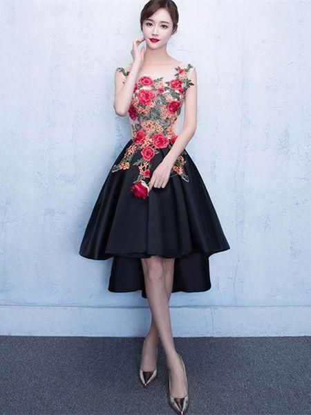 High Low A-line Appliques Short Prom Dress,Black Party Dress,Sexy Cocktail